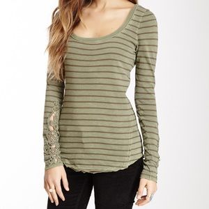 Free People Hard Candy Striped Top Olive and Brown